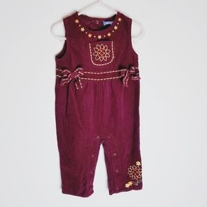 Cre8ions vintage burgundy corduroy romper jumpsuit